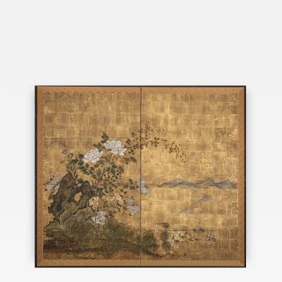 Japanese Screen Floral Garden and Rock on Gold