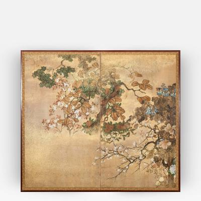 Japanese Screen Floral Landscape with Gold Dust