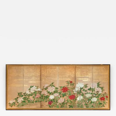Japanese Screen Peonies With Gold