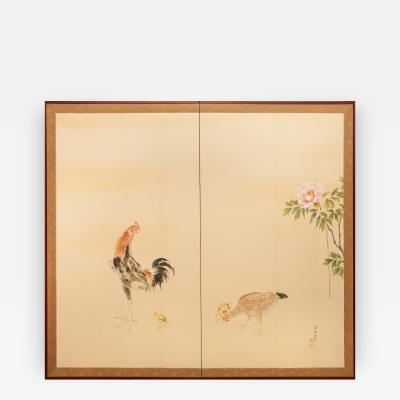 Japanese Screen Rooster Hen and Chicks