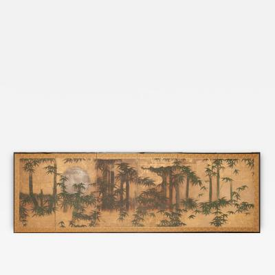Japanese Screen Silver Moon and Bamboo on Gold