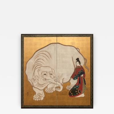 Japanese Screen White Elephant and a Beauty