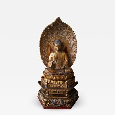 Japanese Seated Gilt Amida Buddha