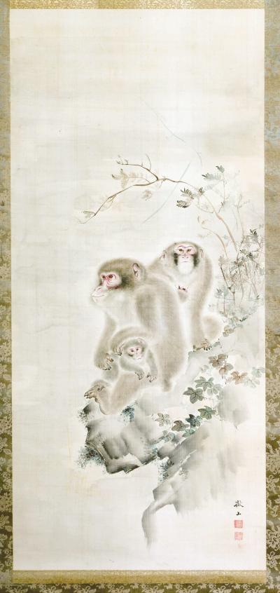 Japanese Silk Scroll Painting of Moneys Edo Period Mori Tetsuzan