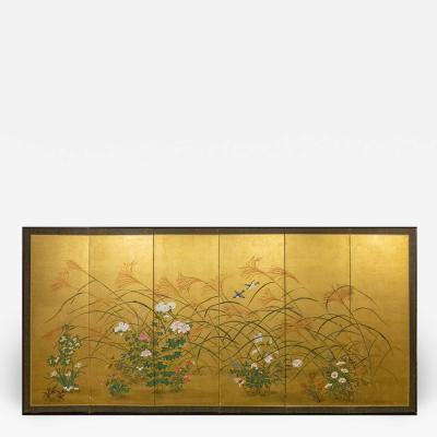 Japanese Six Panel Screen A Garden For All Seasons