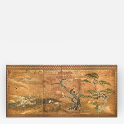 Japanese Six Panel Screen Audobon Landscape with Maple and Pine
