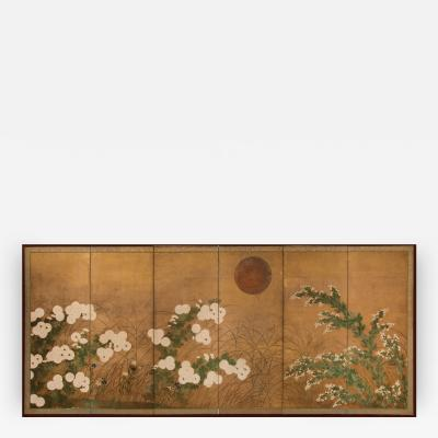 Japanese Six Panel Screen Autumn Garden Landscape