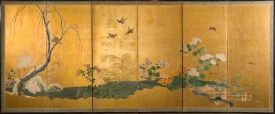 Japanese Six Panel Screen Autumn Into Winter Landscape