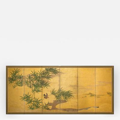 Japanese Six Panel Screen Bamboo Grove with Bird and Meandering Stream