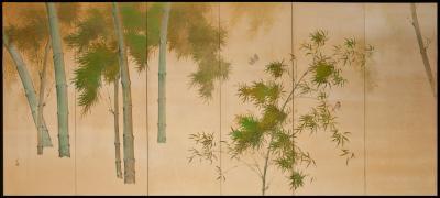 Japanese Six Panel Screen Bamboo on Silk