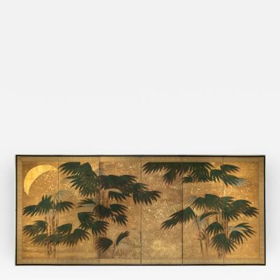 Japanese Six Panel Screen Chinese Bamboo with Moon and Gold Stars