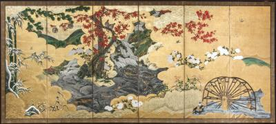 Japanese Six Panel Screen Fall Into Winter Landscape