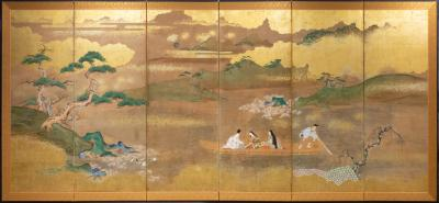 Japanese Six Panel Screen Glorious Painting of Lady Murasaki on Lake Biwa