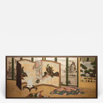 Japanese Six Panel Screen Inside the Imperial Household