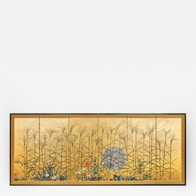 Japanese Six Panel Screen Moon Over the Plains of Musashino on Gold Leaf