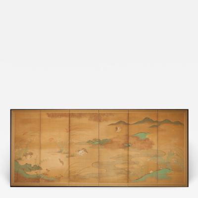 Japanese Six Panel Screen Quails in a Gentle Landscape