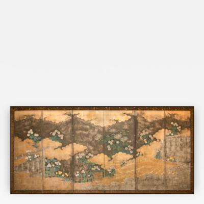Japanese Six Panel Screen Rimpa School Chrysanthemums on Silver and Gold