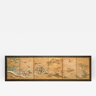 Japanese Six Panel Screen Rimpa School Painting of Seasonal Landscape