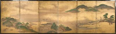 Japanese Six Panel Screen Rolling Country Landscape
