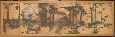 Japanese Six Panel Screen Silver Moon and Bamboo on Gold