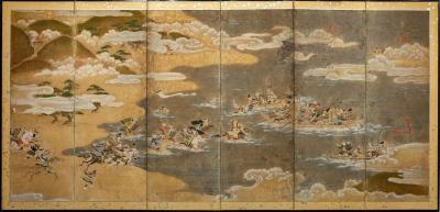 Japanese Six Panel Screen Tosa School Painting of the Battle of Yashima