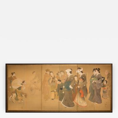 Japanese Six Panel Screen Wedding Scene
