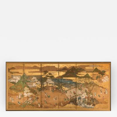 Japanese Six Panel Screen Willow Bridge in Spring Landscape with Children
