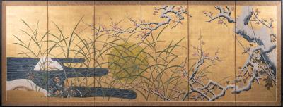 Japanese Six Panel Screen Winter Landscape with Flowering Plum