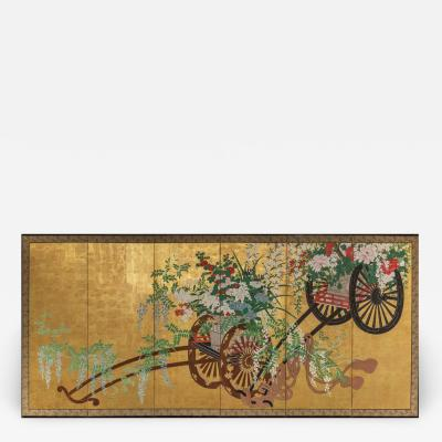 Japanese Six Panel Screens Pair of Festival Carts