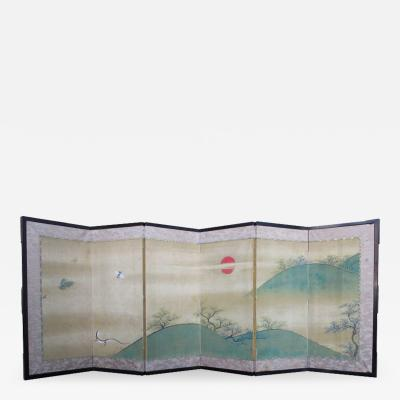 Japanese Small 6 panel Screen Painting with Lizard and Insects