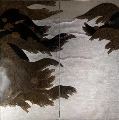 Japanese Two Panel Lacquer Screen Under the Waves With Flowing Kelp Seashells