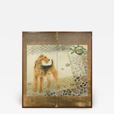 Japanese Two Panel Screen Airedale Terrier
