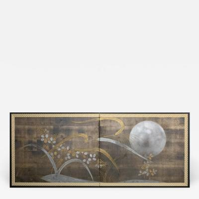 Japanese Two Panel Screen Autumn Flower and Moon on Silver