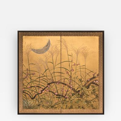 Japanese Two Panel Screen Autumn Flowers and Moon