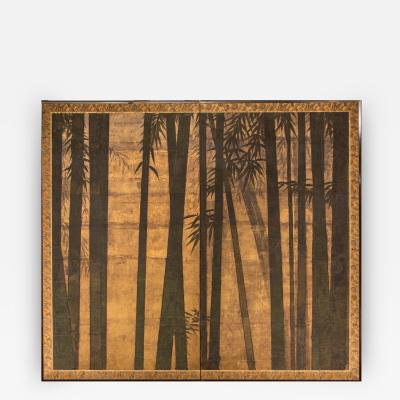 Japanese Two Panel Screen Bamboo Forest on Gold