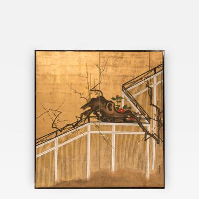 Japanese Two Panel Screen Camellia and Plum Blossom Over a Garden Fence
