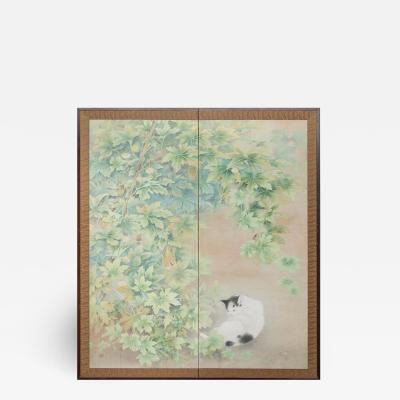 Japanese Two Panel Screen Cat Resting Under Arbor