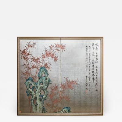 Japanese Two Panel Screen Chinese Style Painting with Calligraphy