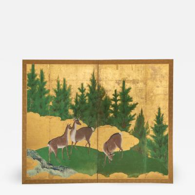 Japanese Two Panel Screen Deer in Cedar Landscape