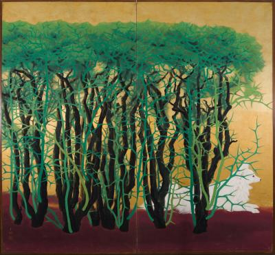 Japanese Two Panel Screen Dog Resting Beside a Thorny Hedge