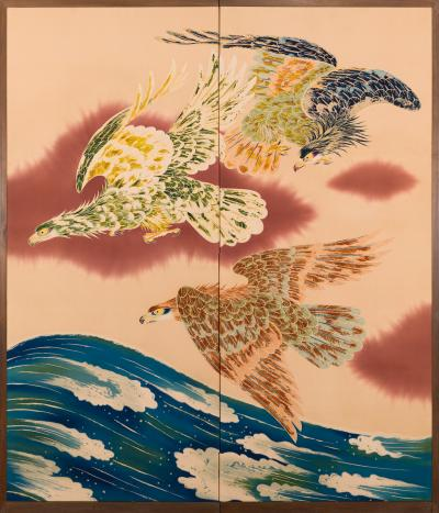 Japanese Two Panel Screen Falcons in Flight