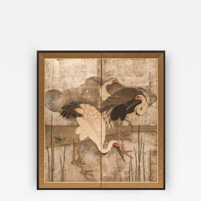 Japanese Two Panel Screen Family of Storks at Rivers Edge