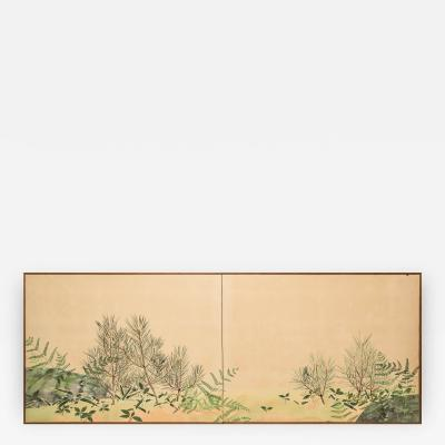 Japanese Two Panel Screen Ferns and Young Pine