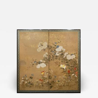 Japanese Two Panel Screen Flower Garden