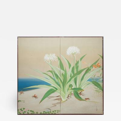 Japanese Two Panel Screen Flowering Lilies on the Beach with Dancing Crabs