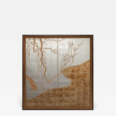 Japanese Two Panel Screen Flowering Tree by Edge of a Stream