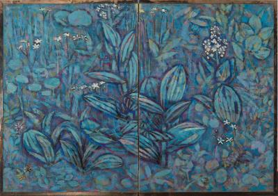 Japanese Two Panel Screen Flowers of the Highland