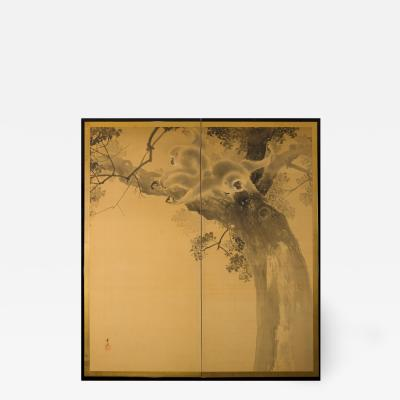 Japanese Two Panel Screen Gibbons in the Wild
