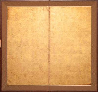 Japanese Two Panel Screen Gold Leaf on Paper