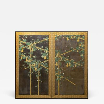 Japanese Two Panel Screen Gourds on Bamboo Arbor